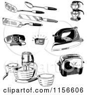 Clipart Of Black And White Retro Kitchen Utensils Appliances And Household Items Royalty Free Vector Clipart