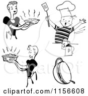 Clipart Of Black And White Retro Housewifes And Boy Cooking Royalty Free Vector Clipart