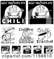 Clipart Of Black And White Retro Coffee And Food Signs Royalty Free Vector Clipart by BestVector