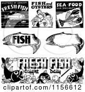 Clipart Of Black And White Retro Seafood Signs Royalty Free Vector Clipart by BestVector