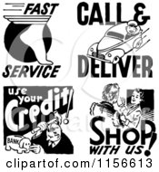 Clipart Of Black And White Retro Service People Royalty Free Vector Clipart
