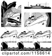 Clipart Of Black And White Retro Ships And Borders Royalty Free Vector Clipart