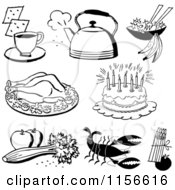 Clipart Of Black And White Retro Foods Royalty Free Vector Clipart by BestVector