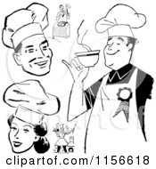Clipart Of Black And White Retro Chefs Royalty Free Vector Clipart by BestVector