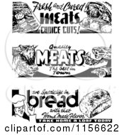 Clipart Of Black And White Retro Bread And Meat Grocery Signs Royalty Free Vector Clipart