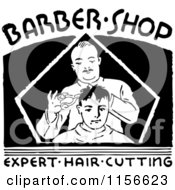 Black And White Retro Barber Shop Sign