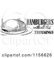 Clipart Of A Black And White Retro Hamburger With All The Trimmings Menu Design Royalty Free Vector Clipart