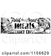Clipart Of A Black And White Retro Meat Grocery Sign Royalty Free Vector Clipart