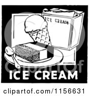 Clipart Of A Black And White Retro Ice Cream Sign Royalty Free Vector Clipart