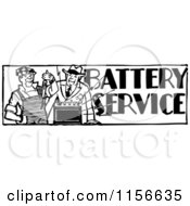 Clipart Of A Black And White Retro Batteries Service Man Royalty Free Vector Clipart