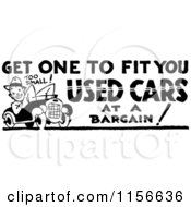 Clipart Of A Black And White Retro Used Cars Sign Royalty Free Vector Clipart
