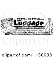 Clipart Of A Black And White Retro Travel In Style Luggage Advertisement Royalty Free Vector Clipart