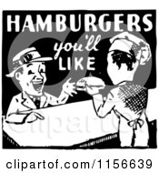 Clipart Of A Black And White Retro Hamburgers Youll Like Sign Royalty Free Vector Clipart by BestVector