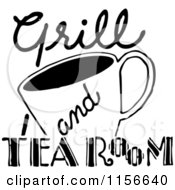 Clipart Of A Black And White Retro Grill And Tea Room Sign Royalty Free Vector Clipart