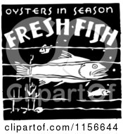 Clipart Of A Black And White Retro Oysters In Season Fresh Fish Sign Royalty Free Vector Clipart