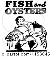 Clipart Of A Black And White Retro Man Carrying A Large Fish With Fish And Oysters Text Royalty Free Vector Clipart