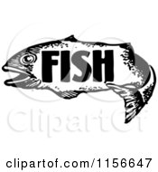 Clipart Of A Black And White Retro Fish With Text Royalty Free Vector Clipart