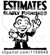 Clipart Of A Black And White Retro Estimate Man Royalty Free Vector Clipart