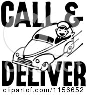 Clipart Of A Black And White Retro Call And Deliver Man Royalty Free Vector Clipart by BestVector