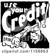 Clipart Of A Black And White Retro Use Your Credit Man Royalty Free Vector Clipart