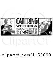 Clipart Of A Black And White Retro Catering Food Service Sign Royalty Free Vector Clipart