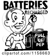 Clipart Of A Black And White Retro Batteries Recharged Man Royalty Free Vector Clipart
