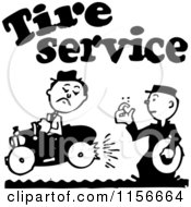 Clipart Of A Black And White Retro Tire Service Man Royalty Free Vector Clipart
