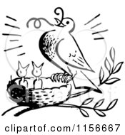 Clipart Of A Black And White Retro Bird Feeding Chicks A Worm Royalty Free Vector Clipart