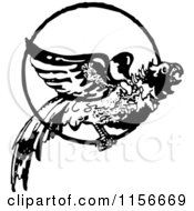 Clipart Of A Black And White Retro Parrot In A Ring 2 Royalty Free Vector Clipart