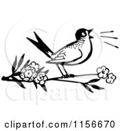 Clipart Of A Black And White Retro Bird Singing On A Branch Royalty Free Vector Clipart