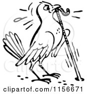 Clipart Of A Black And White Retro Bird Pulling A Worm From A Hole Royalty Free Vector Clipart