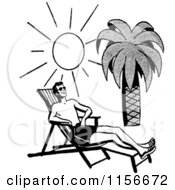 Clipart Of A Black And White Retro Man Sun Bathing On A Tropical Beach Royalty Free Vector Clipart