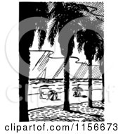Clipart Of A Black And White Retro Tropical Beach Royalty Free Vector Clipart by BestVector