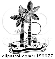Clipart Of A Black And White Retro Hut On A Tropical Island Royalty Free Vector Clipart