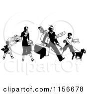 Black And White Retro Traveling Family With Luggage
