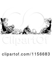 Clipart Of A Black And White Retro Fish And Bubble Border Royalty Free Vector Clipart
