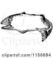 Clipart Of A Black And White Retro Fish Frame Royalty Free Vector Clipart