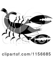 Clipart Of A Black And White Retro Prawn Royalty Free Vector Clipart