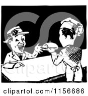 Clipart Of A Black And White Retro Chef Serving A Hamburger Royalty Free Vector Clipart