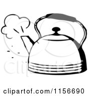 Clipart Of A Black And White Retro Steaming Tea Pot Royalty Free Vector Clipart by BestVector