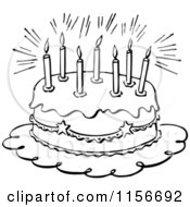 Clipart Of A Black And White Retro Birthday Cake And Candles Royalty Free Vector Clipart
