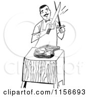 Clipart Of A Black And White Retro Male Chef Cutting Meat Royalty Free Vector Clipart by BestVector