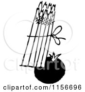 Clipart Of A Black And White Retro Tomato And Asparagus Royalty Free Vector Clipart by BestVector