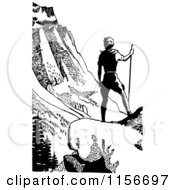 Clipart Of A Black And White Retro Male Hiker In Mountains Royalty Free Vector Clipart