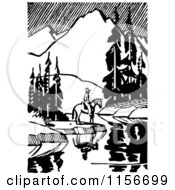 Clipart Of A Black And White Retro Horseback Man By A Still Mountainous Stream Royalty Free Vector Clipart by BestVector