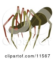Creepy Brown Spider Clipart Illustration by AtStockIllustration