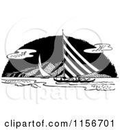 Black And White Retro Sail Boats