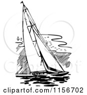 Black And White Retro Sailing Boat
