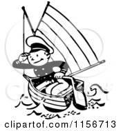 Clipart Of A Black And White Retro Sailor In A Boat Royalty Free Vector Clipart