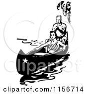 Black And White Retro Couple In A Boat